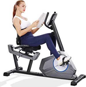MaxKare Recumbent Exercise Bike Stationary Magnetic Resistance 8 Levels Adjustable Static Indoor Cycling Bike with Large LCD Monitor & Ipad Holder for All Ages