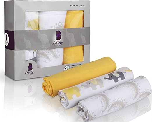 """Set of 2 PREMIUM 100/% CERTIFIED ORGANIC Cotton Muslin Swaddle Baby Blankets 47/"""""""