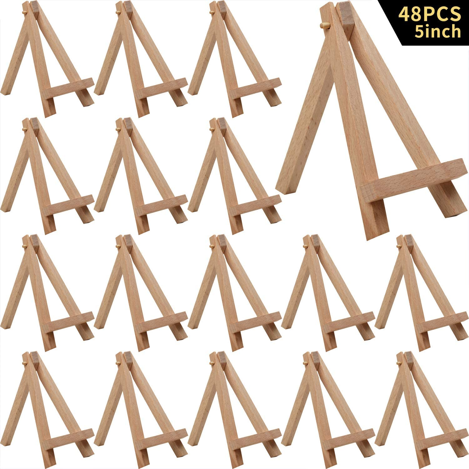 MEEDEN 5 Inch Mini Beech Wood Easel, 48Pack Small Wood Display Stand for Displaying Small Canvases, Business Card, Photos, Decorative Plates and More