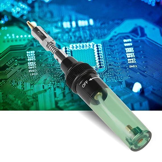 Akozon Soldador a Gas Butano inalámbrico para trabajos de soldadura 1300 ℃ Mini soldador de soplete portátil: Amazon.es: Bricolaje y herramientas