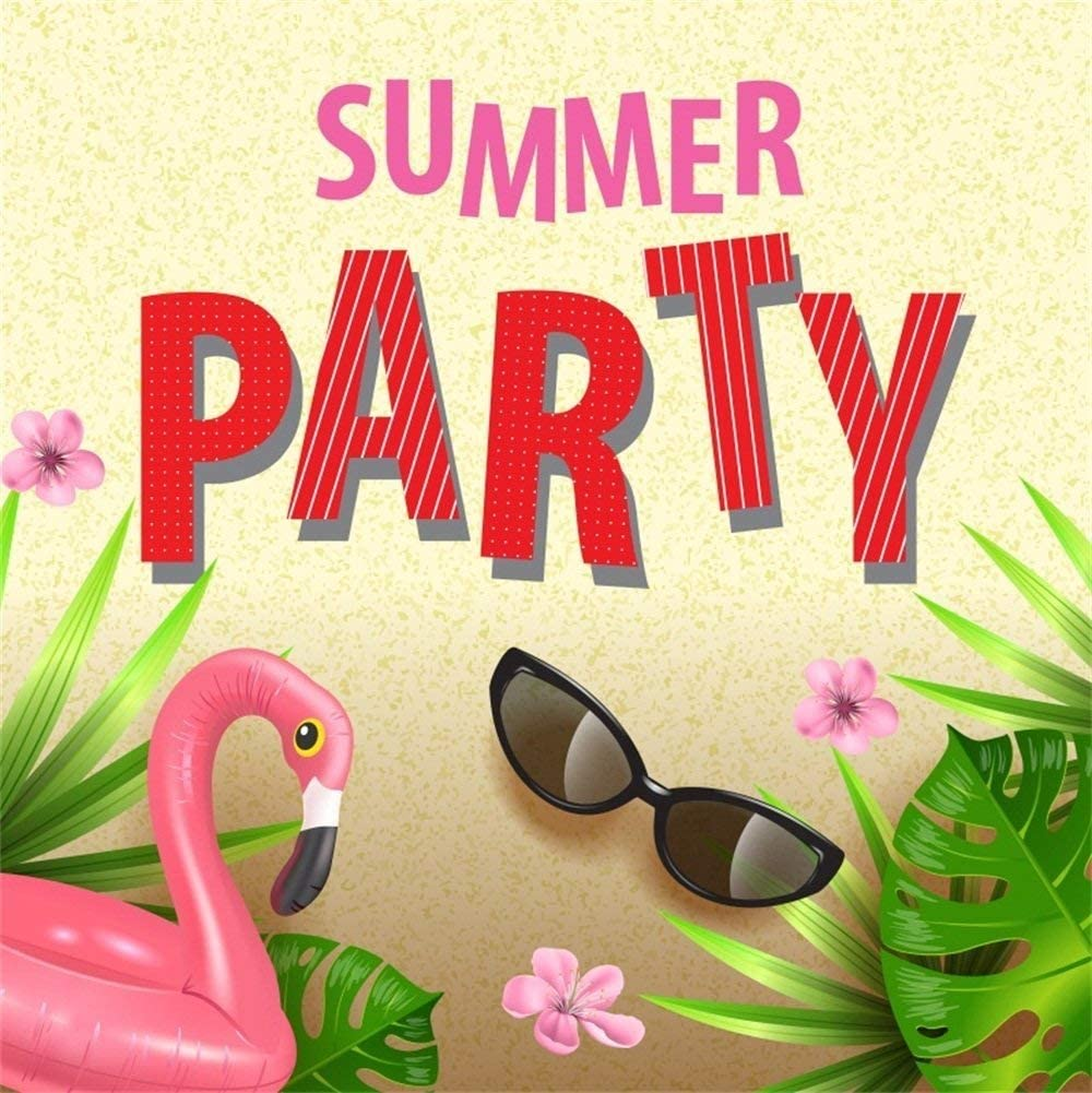 GoEoo 8x8ft Summer Party Backdrop Tropical Leaves Summer Fiesta Tea Party Beach Party Black Glasses Fake Flamingo Photography Background Photo Studio Props