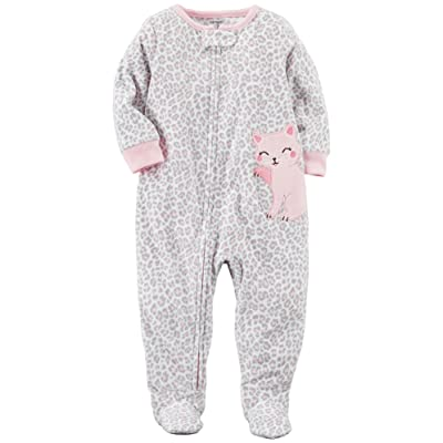 Carter's Baby Girls' 12M-14 One Piece Leopard Print Kitty Fleece Pajamas