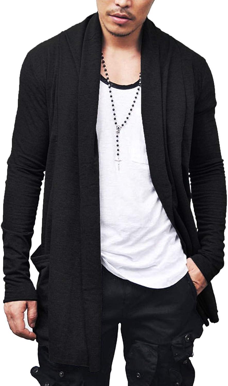 COOFANDY Men's Ruffle Shawl Collar Cardigan Premium Cotton Blend Long Length Drape Cape Overcoat 71M6hGWxWWL