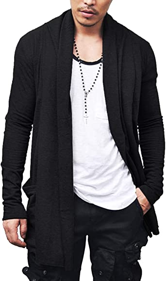 Mens Ruffle Shawl Collar Cardigan Outwear Hooded Long Cape Poncho Trench Coat