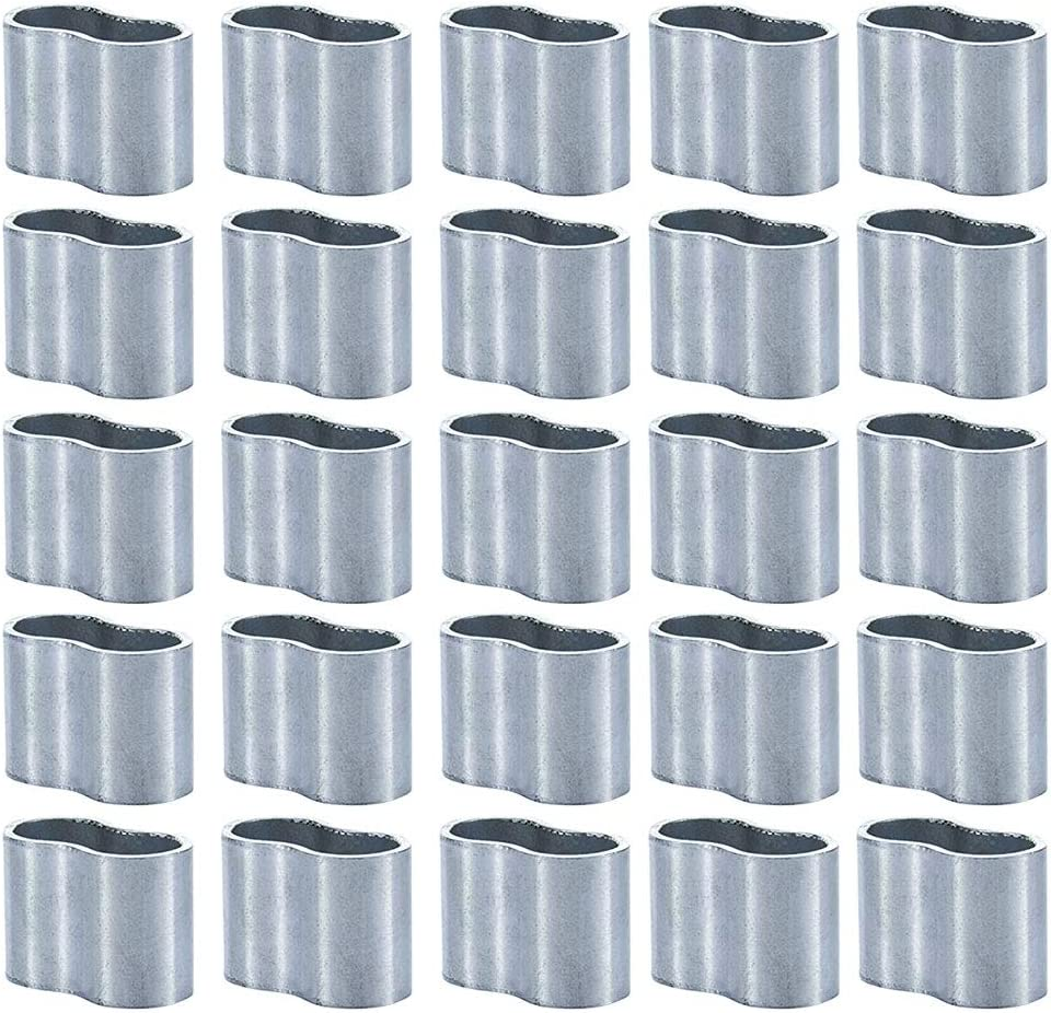 KAILEE 25pcs Clips de Mangas de Aluminio 8mm de Diametro Interior Clip Alambre Aluminio Crimping Loop Manga Doble Barril Ferrule para Cable y Cuerda Forma Ovalada