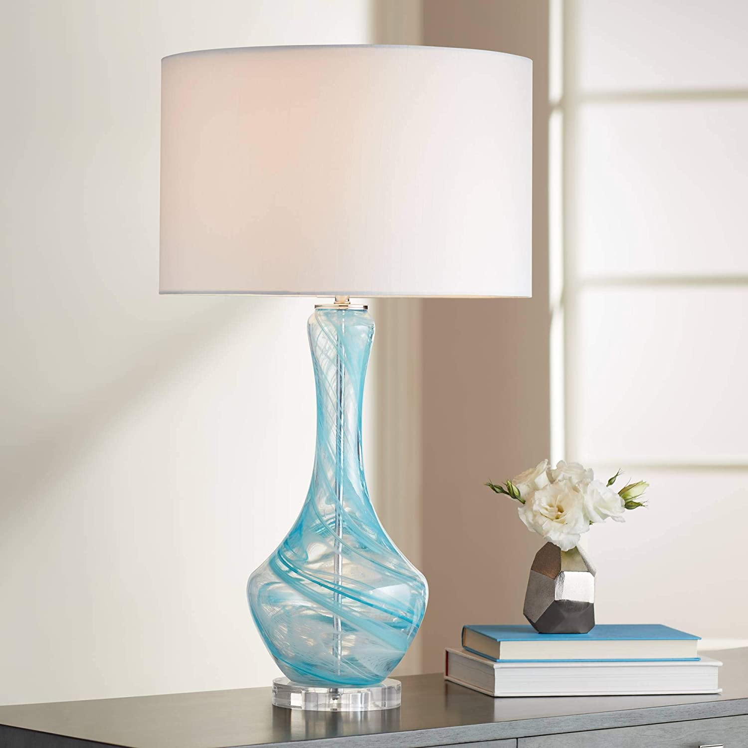 Codie Modern Contemporary Style Table Lamp Clear Blue Swirl Art Glass Gourd White Fabric Drum Shade Decor for Living Room Bedroom House Bedside Nightstand Home Office Family - Possini Euro Design