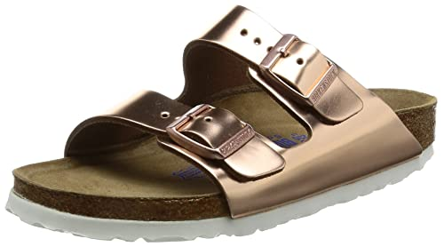 c313895cdac8 Birkenstock  quot Arizona quot  Womens Sandals Natural Leather Metallic  Copper Softfootbed - 952093 - narrow