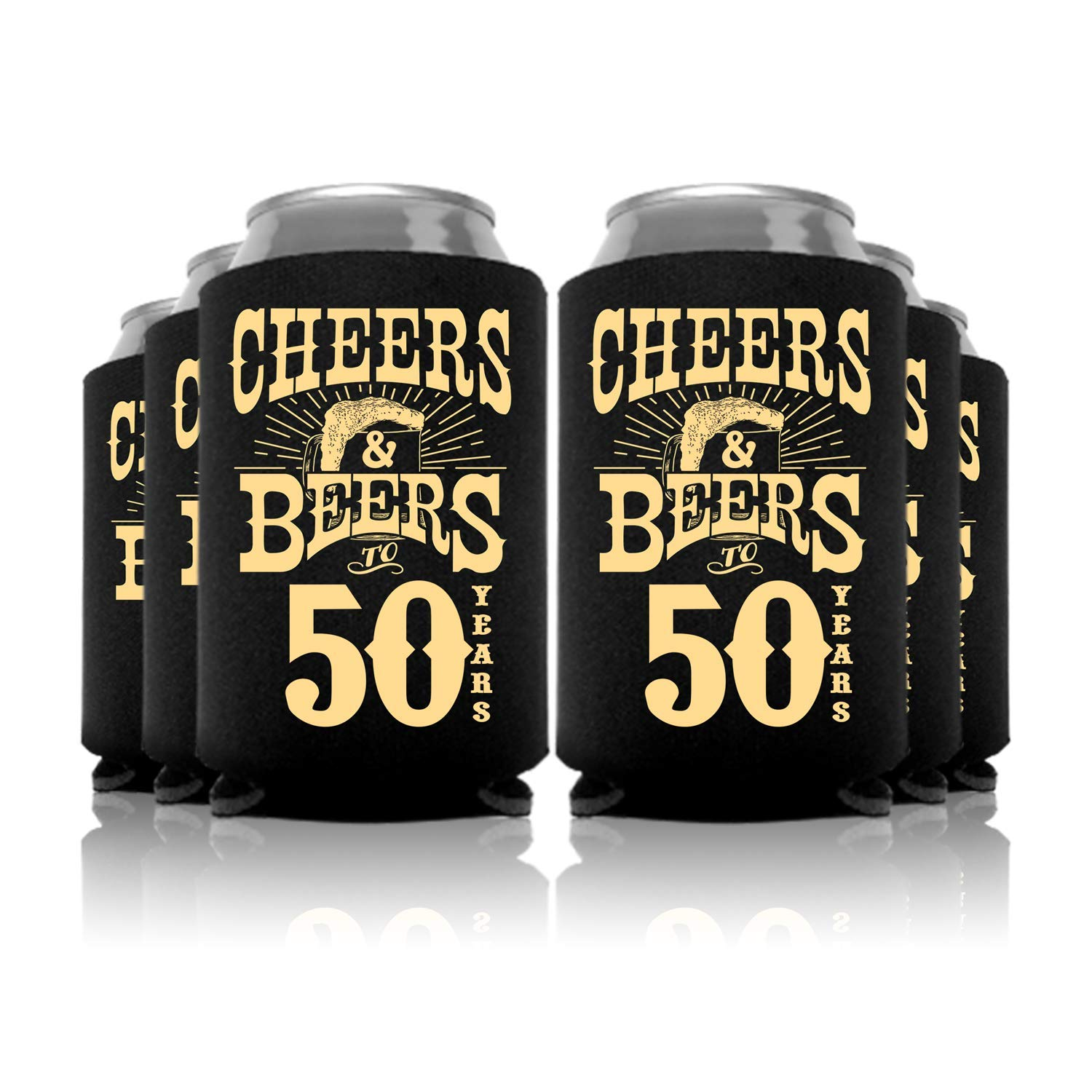 Cheers and Beers to 50 Years Birthday Can Coolers Party Favor 48 Pc