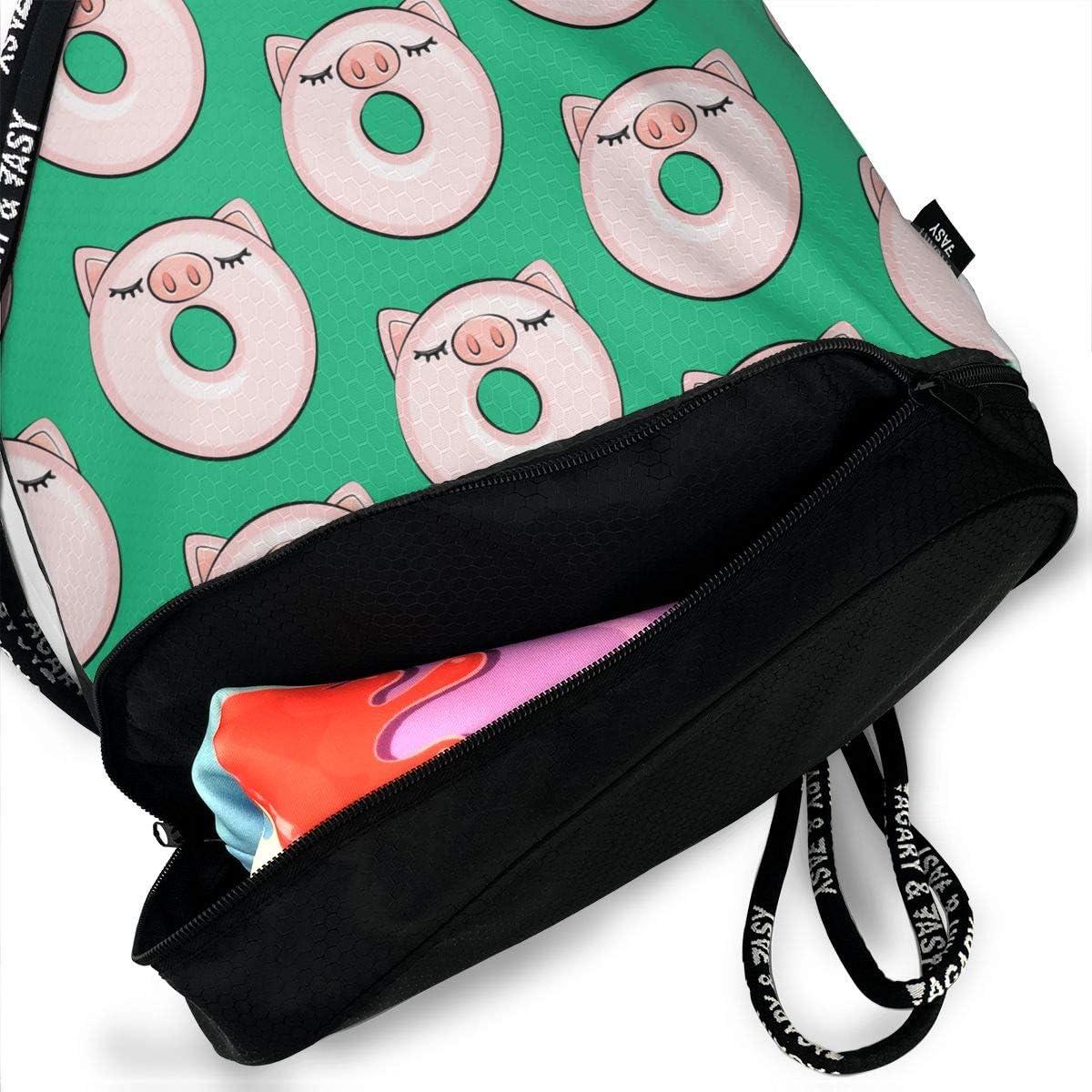 Drawstring Backpack Piggy Donut Rucksack
