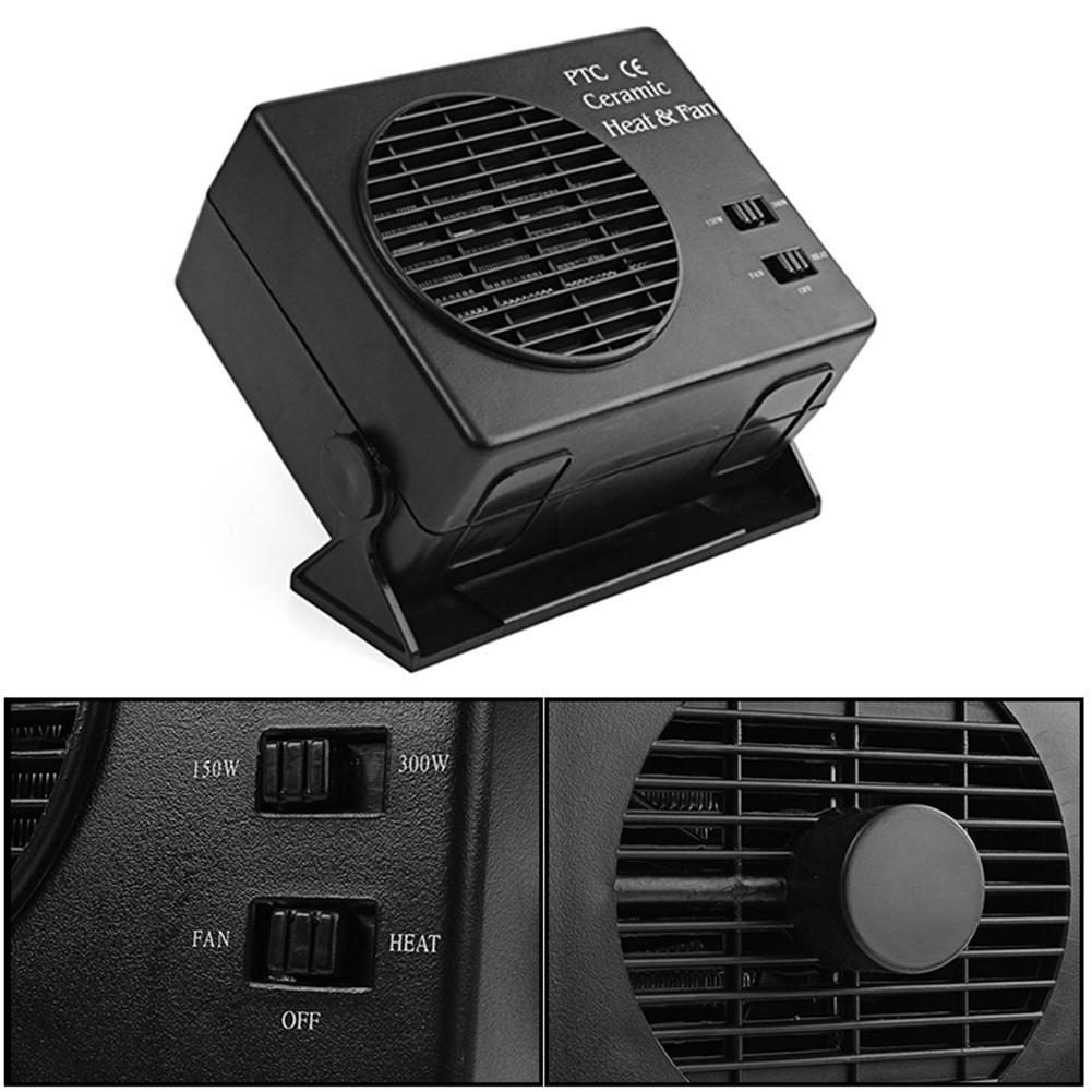 12V 150//300 W Calentador universal del ventilador de cer/ámica Coche el/éctrico SUV Veh/ículos Calentador port/átil Enfriador secador Desmiciamiento del descongelador Calentador del ventilador del coche
