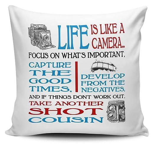 La vida es como una cámara Primo - Funda para cojín, color ...