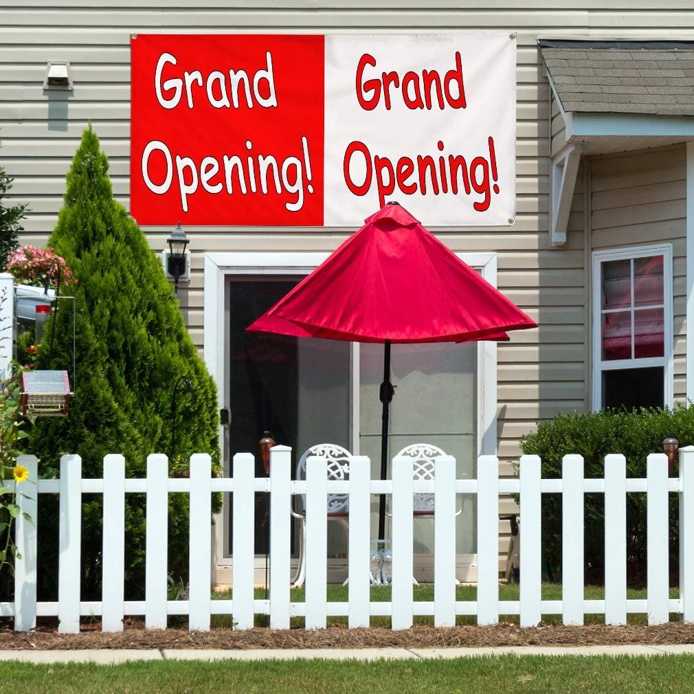 Vinyl Banner Sign Grand Opening Grand Opening red White #3 Marketing Advertising Red 24inx60in 4 Grommets Set of 3 Multiple Sizes Available