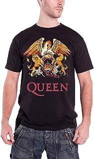 Queen T Shirt Mens Black Classic Crest band logo freddie mercury new Official QUTS03MB03