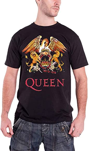 Queen T Shirt Gradient Crest classic Band Logo new Official Mens Black