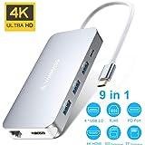 USB C ハブ VANMASS usb type c ハブ 9-IN-1 hub 4K HDMI出力 90W充電PD 1000Mbps 有線LAN USB3.O 高速データ転送 持ち運びに便利 増設拡張 変換アダプター HDMI出力ポート LANポート Micro SD/SDカード Type-C(PD)ポート USB 3.0ポート*4 MacBook/pro、ChromeBook対応 (9-in-1 ハブ) (9-IN-1)