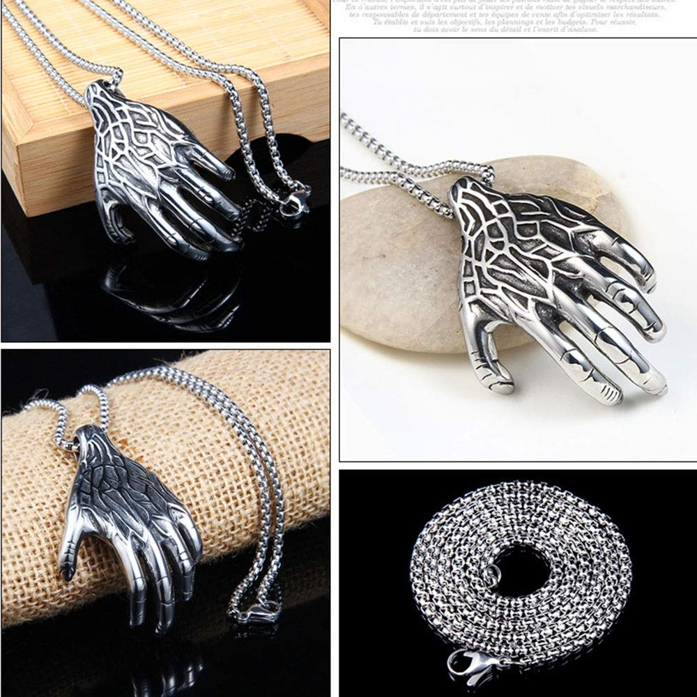 PUEEPDEE Amulet Pendant Necklace Mens Retro Punk Vintage Claw Pendant Gothic Stainless Steel Pendant Necklace Silver Black Ideal for Teens Man Stainless Steel Pendant Necklace