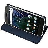 MOTO G5 Cover - IVSO Slim Flip Cover Custodia per Lenovo MOTO G5 Smartphone (Flip Series - Blu)