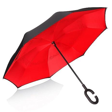 paraguas reversible Rojo sólido doble capa resistente y resistente al viento C muñeca ergonómica para las