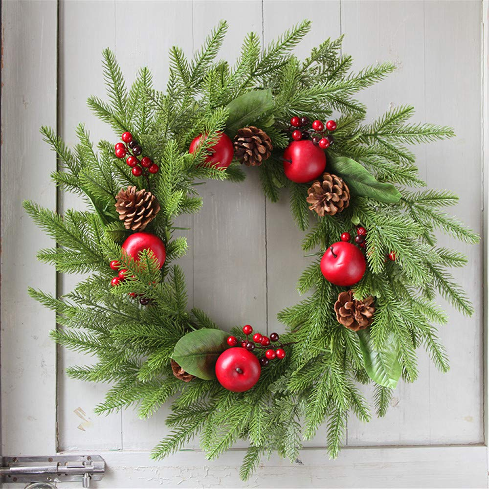 Promisen Christmas Wreath,Merry Christmas Garland Decorations with Red Berries Bells for Christmas Party Decor Front Door Wall,55-60cm Diameter (A) by Promisen (Image #2)