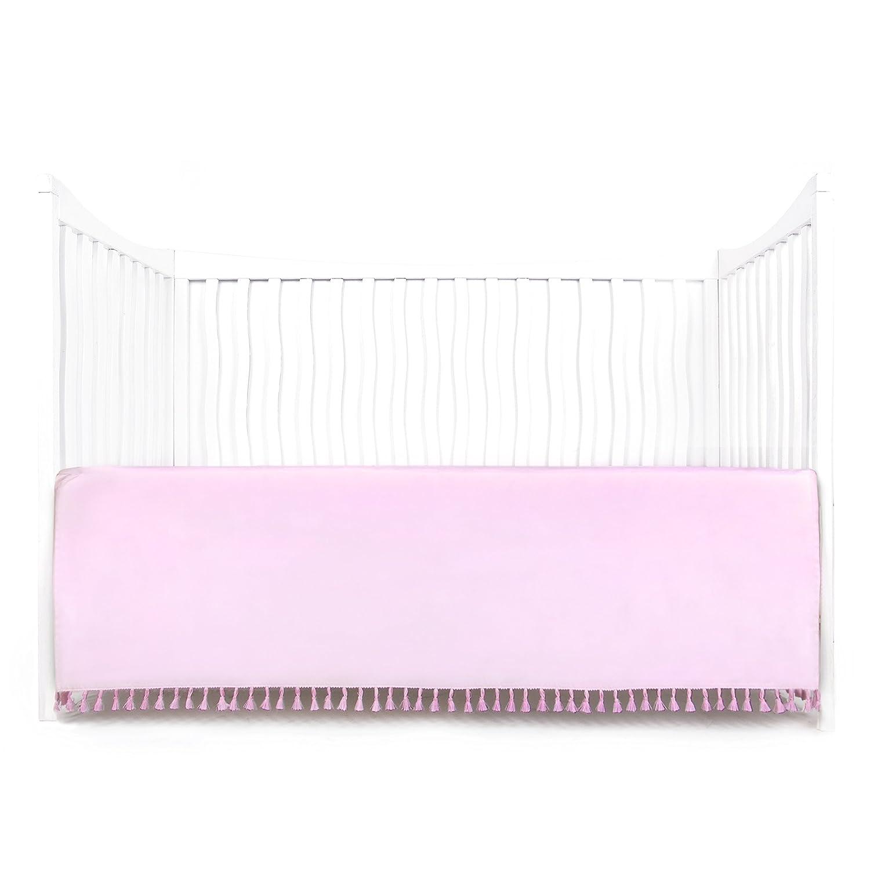 Tadpoles Microfiber Crib Skirt with Tassel, White Sleeping Partners Int'l BDRBMF109