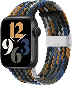 Bandiction Compatible with Apple Watch Bands 38mm 40mm, iWatch Bands for Women Men, Adjustable Braided Solo Loop with Buckle Woven Elastic Sport Bands for iWatch SE Series 6/5/4/3/2/1