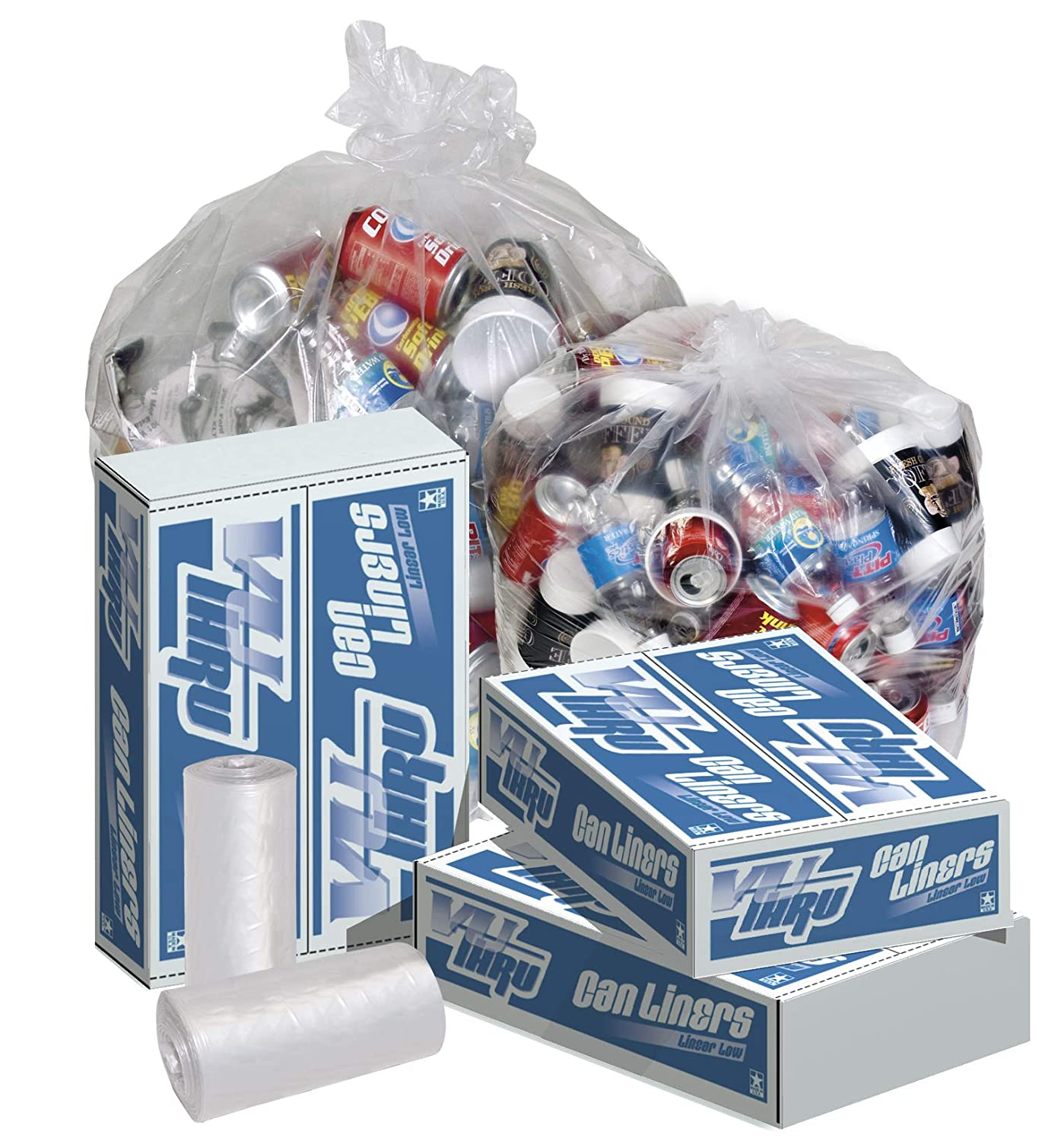 Clear 24 x 32 Case of 250 0.7-mil Pitt Plastics Linear Low-Density Can Liners
