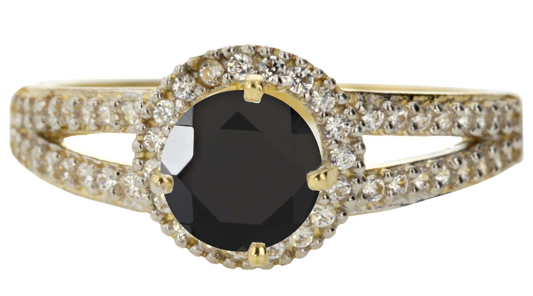 10k Yellow Gold Faceted Natural Genuine Black Onyx Round Solitaire Halo Vintage Engagement Band Ring Size 8.5