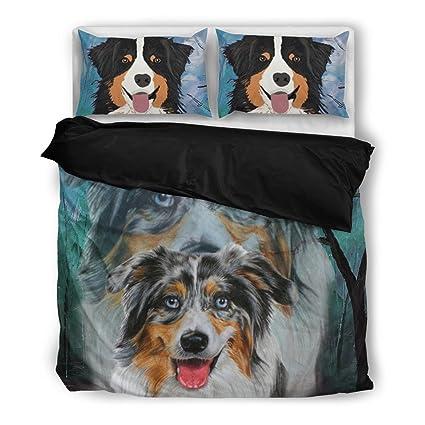 Amazing australiano pastor impresión juego de ropa de cama, diseño de perro los amantes regalos