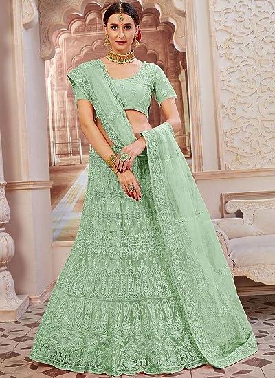 Amazon Com Green Indian Net Lehenga Choli Women Ghagra Party Skirt Ready To Wear Pre Wedding Dress Bp 8 Home Improvement