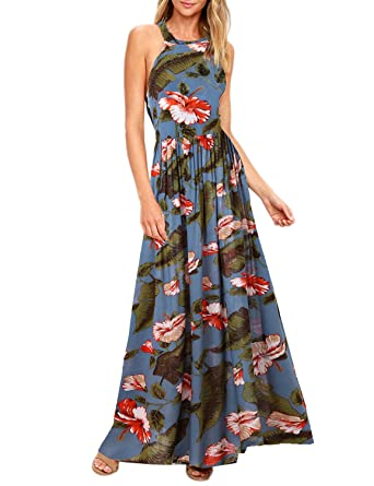 c331aca4bf Blooming Jelly Women s Tropical Sleeveless Halter Neck Criss Cross Backless  Floral Print Maxi Dress (X