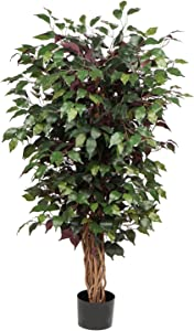 Artificial Ficus Tree 4ft in Pot Fake Silk Plant with Green Red Leaves Natural Trunk for Indoor Outdoor Home Garden Decor