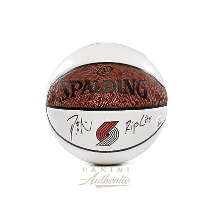 1dfb5babd Damian Lillard Autographed Portland Trailblazers White Panel Basketball  with quot Rip City quot  Inscription ~Limited