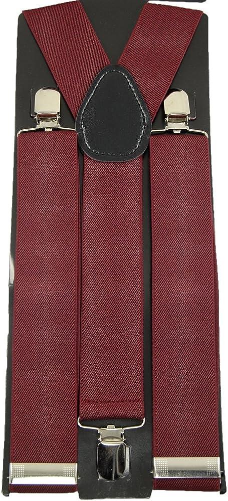 Mens Unisex Clip-on Braces Elastic Wide Burgundy Suspender Y-shape Ajustable ACCmall