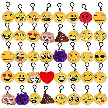 Tomkity 40pcs Emoji Llavero Mini Juguete de Peluche ...