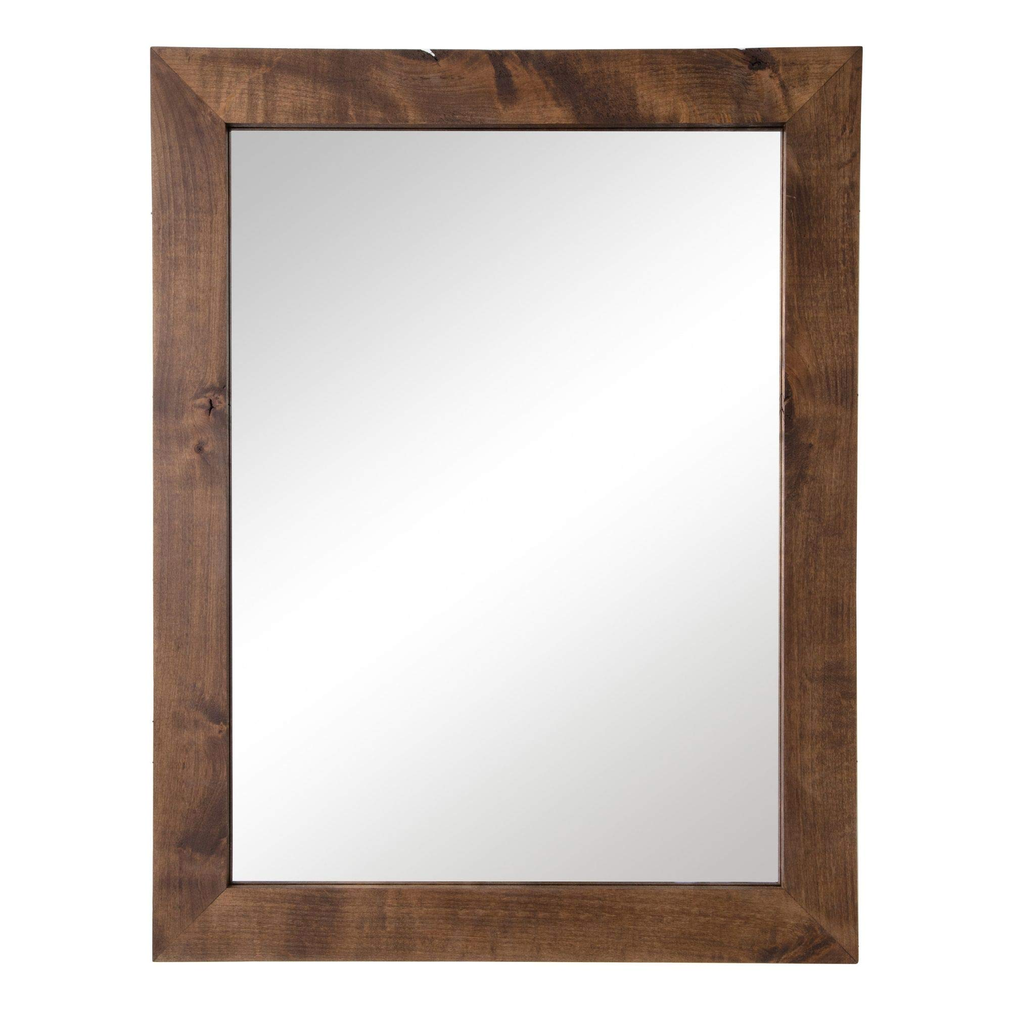Drakestone Designs Modern Farmhouse Mirror for Bathroom Vanity, Wall-Mount, Rectangular Vertical Horizontal, Solid Wood Frame (Walnut Finish, 1) by Drakestone Designs