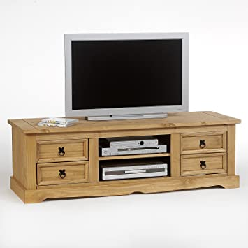 nouvelle collection 15764 4f13b Meuble TV Style mexicain en pin finition cirée, 4 tiroirs + 2 niches