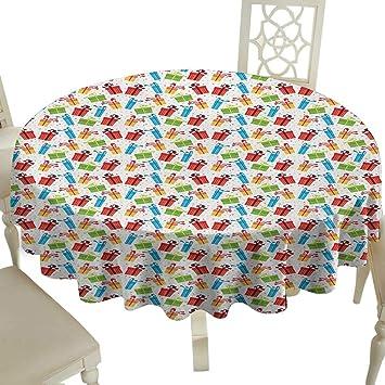 Amazon.com: Mantel redondo gingham para cumpleaños, diseño ...