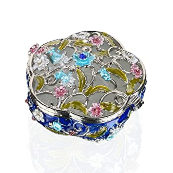 Amazoncom YUFENG Hinged Trinket Box Jeweled Handpainted Patterns