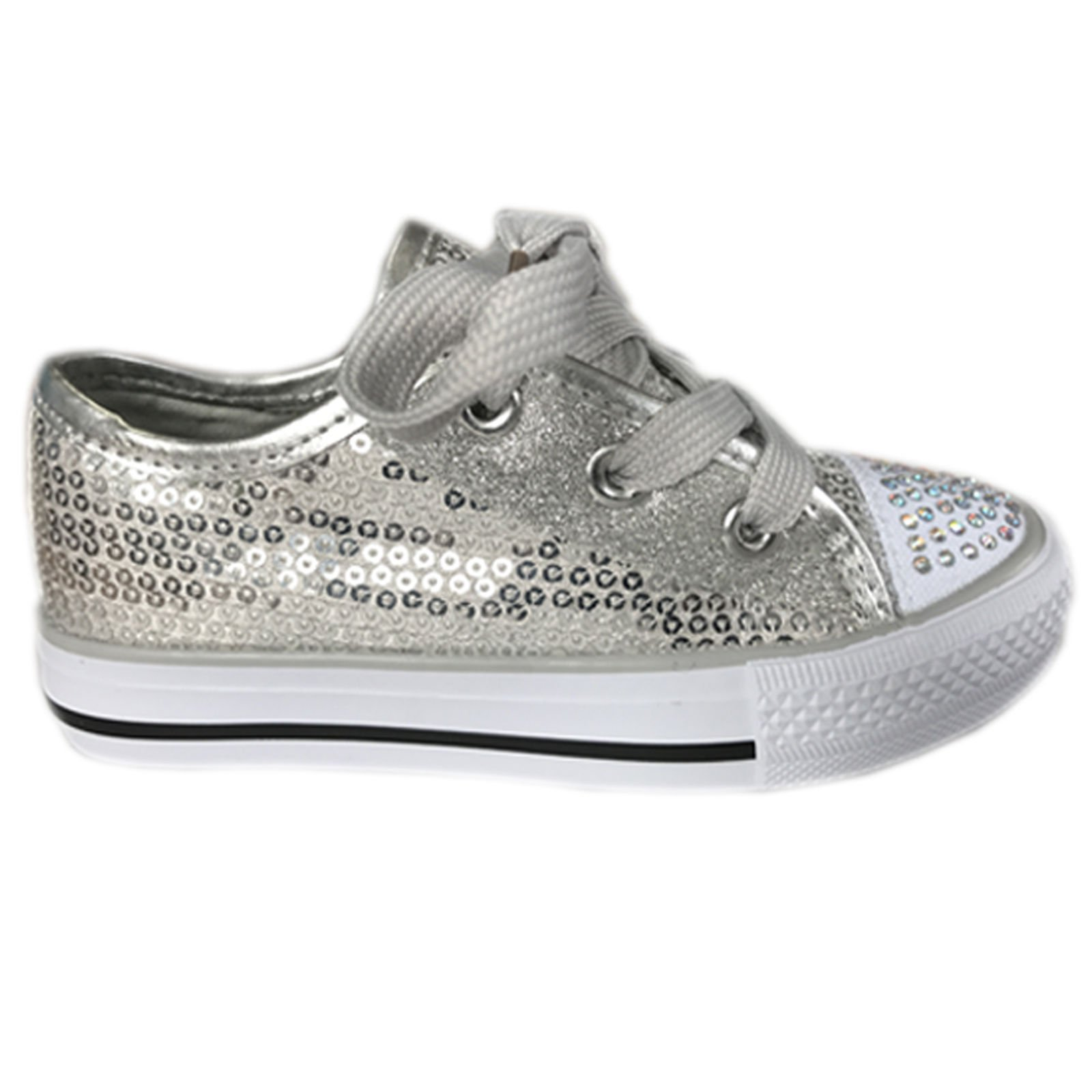 GIRLS KIDS DIAMANTE FLORAL CANVAS SHOES CASUAL PUMPS PLIMSOLLS SNEAKERS TRAINERS