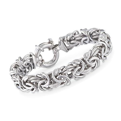 4a0f241de1e6e Ross-Simons Italian Sterling Silver Textured and Polished Byzantine Bracelet