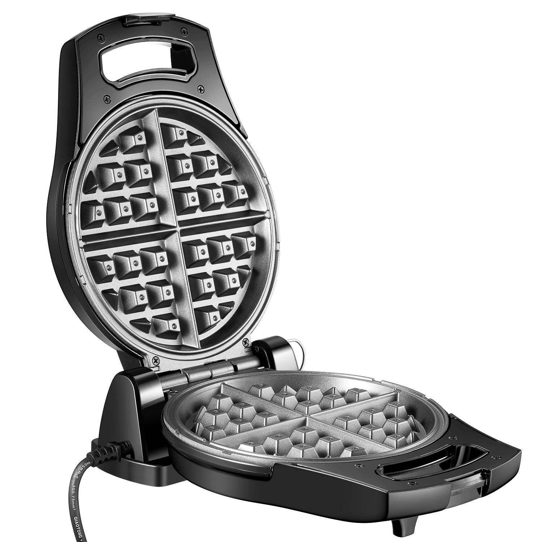 Piastra Per Waffle Ribaltata Belga950 W Aicook, Macchina Per Waffle Elettrica Acciaio Inossidabile con Controllo della Temperatura, Antiaderenti e Scanalatura Anti-perdite, 180 Gradi di Ribaltamento e Riscaldamento Bilaterale per Soffici Waffle Dorati