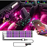 Car Interior Light-OONOL Car LED Strip Light 4pcs Bluetooth Control Neon Lights with Music Sync Under Dash Car Multicolor Lig
