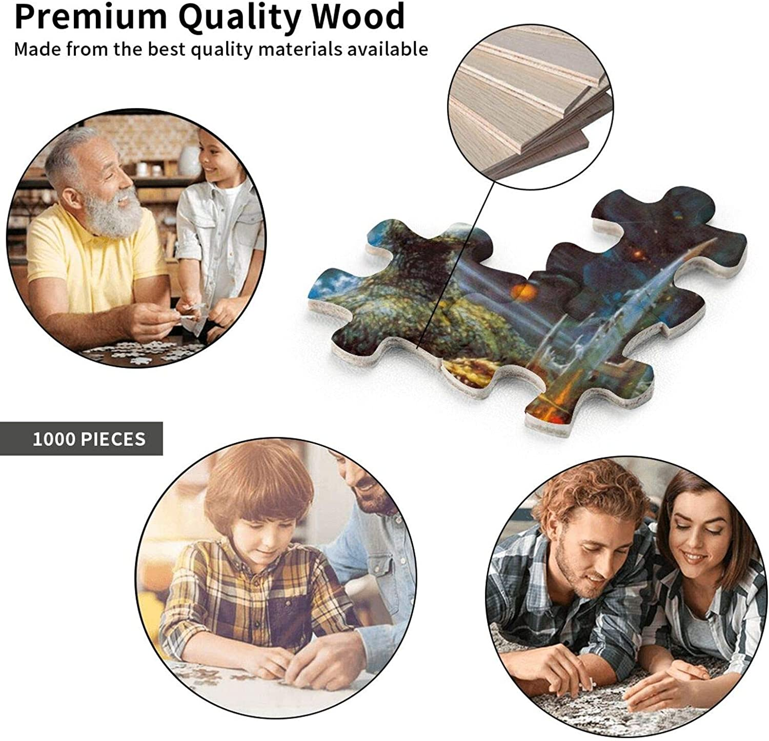Godzilla 1000 Piece Puzzle Jigsaw for Adults and Children-Wooden Jigsaw Puzzle Game and Wall Hanging Room Decor