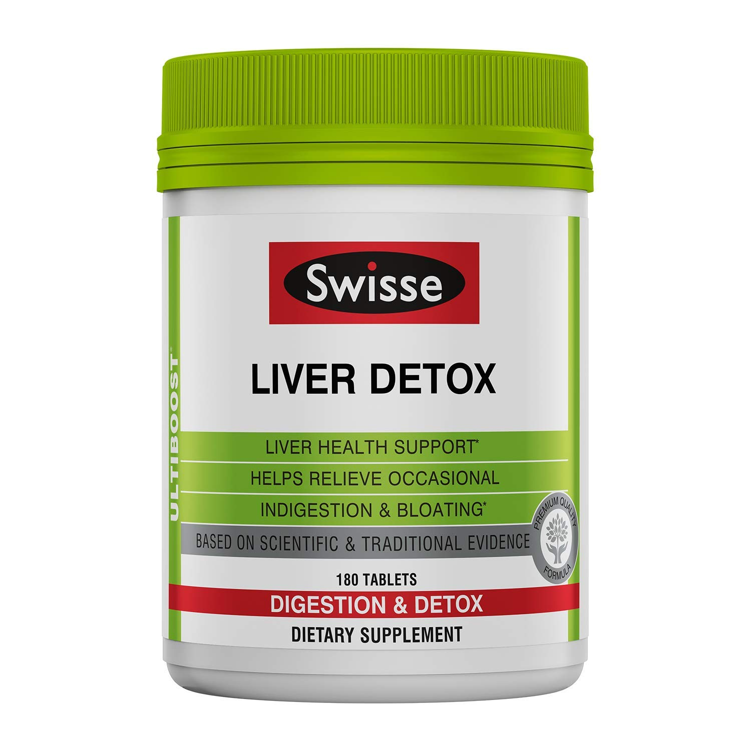 Swisse Ultiboost Liver Detox | Supports Liver Health & Function | Provides Relief for Indigestion & Bloating | Milk Thistle, Artichoke & Tumeric | 180 Tablets