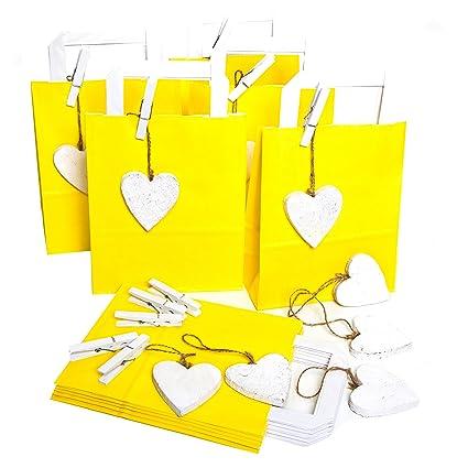 10 amarillas pequeñas oste rtüten 18 x 22 x 8 + 10 corazones ...