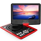 """COOAU Portable DVD Player 11.5"""" with Game Joystick, Swivel HD Screen, Support Multi-Format, Region Free, Long Lasting Battery, Support AV-in/AV-Out/SD/USB, Red"""