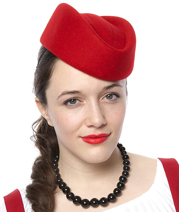 1950s Style Hats for Sale Stewardess Pillbox - Retro Style Hat - Red $24.95 AT vintagedancer.com