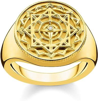 THOMAS SABO Damen Ring Vintage Kompass Gold 925Er Sterlingsilber; 750Er Gelbgold Vergoldung D_TR0042 924 14