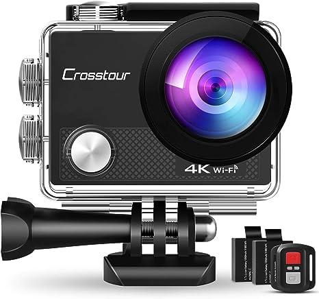 Crosstour CT9000 Cámara Deportiva 4K Wi-Fi 20MP (Camaras de Acción Sumergible de 40M Camara Acuática con Control Remoto, Corrección de la deformidad y 20 Kits de Accesorios): Amazon.es: Electrónica
