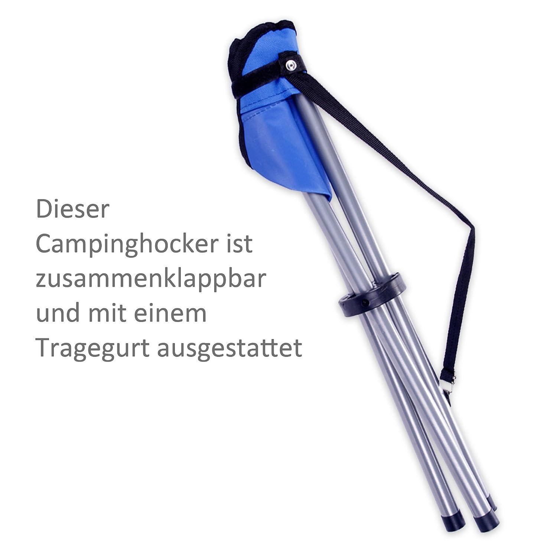 Campinghocker Dreibeinhocker Klapphocker super leicht zusammenklappbar mit Tragegurt in grau blau oder schwarz